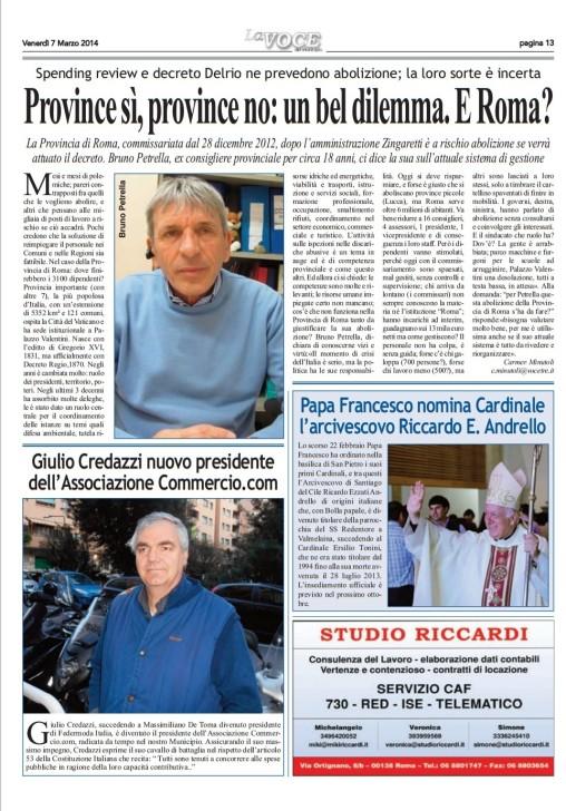 CM-LA VOCE DEL MUNICIPIO- abolizione province- intervista a petrella 7.3.14