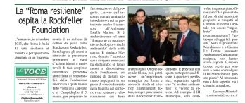 CM-LA VOCE DEL MUNICIPIO- roma resilient city ospita Rockfeller foundation - 21.3.14