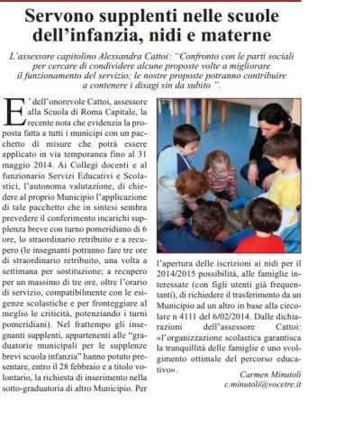 CM-LA VOCE DEL MUNICIPIO-supplenti nelle scuole infanzia-asili-materne 7.3.14
